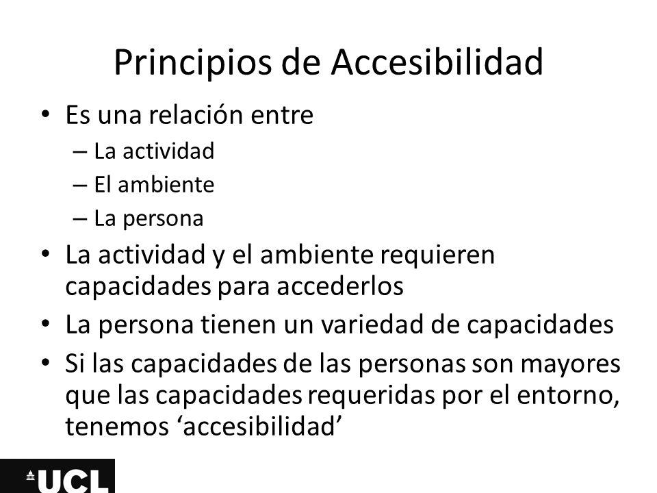 Principios de Accesibilidad Es una relación entre – La actividad – El ambiente – La persona La actividad y el ambiente requieren capacidades para acce