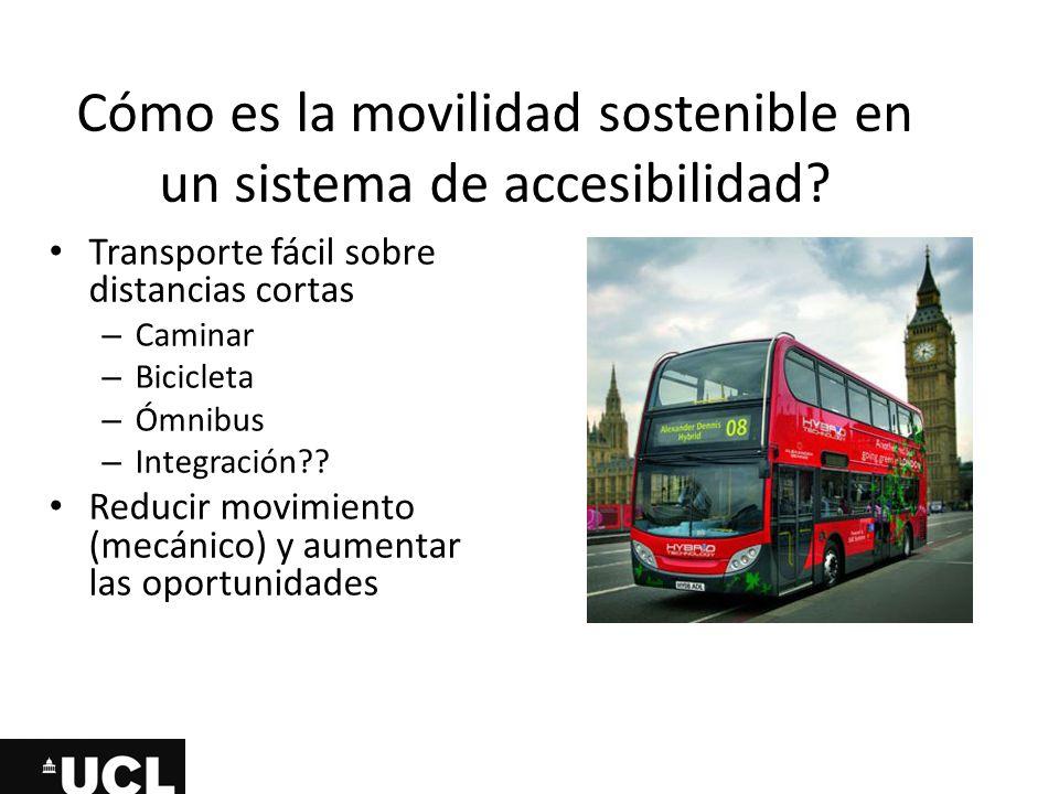 Cómo es la movilidad sostenible en un sistema de accesibilidad? Transporte fácil sobre distancias cortas – Caminar – Bicicleta – Ómnibus – Integración