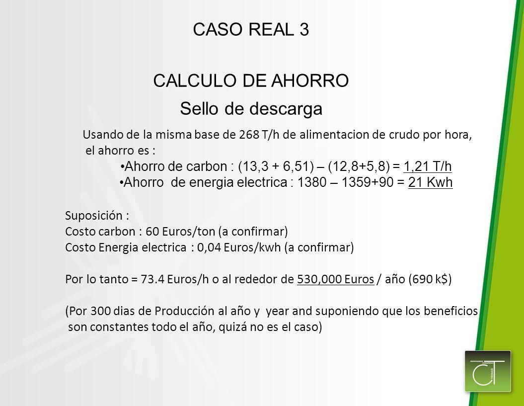 CASO REAL 3 CALCULO DE AHORRO Sello de descarga Usando de la misma base de 268 T/h de alimentacion de crudo por hora, el ahorro es : Ahorro de carbon : (13,3 + 6,51) – (12,8+5,8) = 1,21 T/h Ahorro de energia electrica : 1380 – 1359+90 = 21 Kwh Suposición : Costo carbon : 60 Euros/ton (a confirmar) Costo Energia electrica : 0,04 Euros/kwh (a confirmar) Por lo tanto = 73.4 Euros/h o al rededor de 530,000 Euros / año (690 k$) (Por 300 dias de Producción al año y year and suponiendo que los beneficios son constantes todo el año, quizá no es el caso)