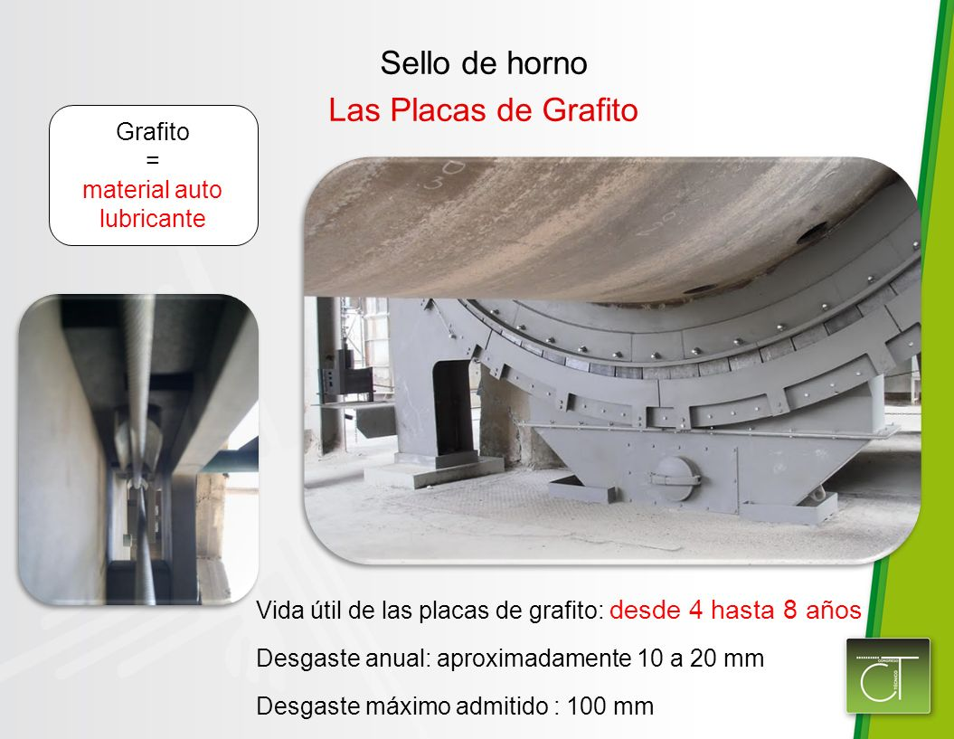 Vida útil de las placas de grafito: desde 4 hasta 8 años Desgaste anual: aproximadamente 10 a 20 mm Desgaste máximo admitido : 100 mm Grafito = material auto lubricante Sello de horno Las Placas de Grafito