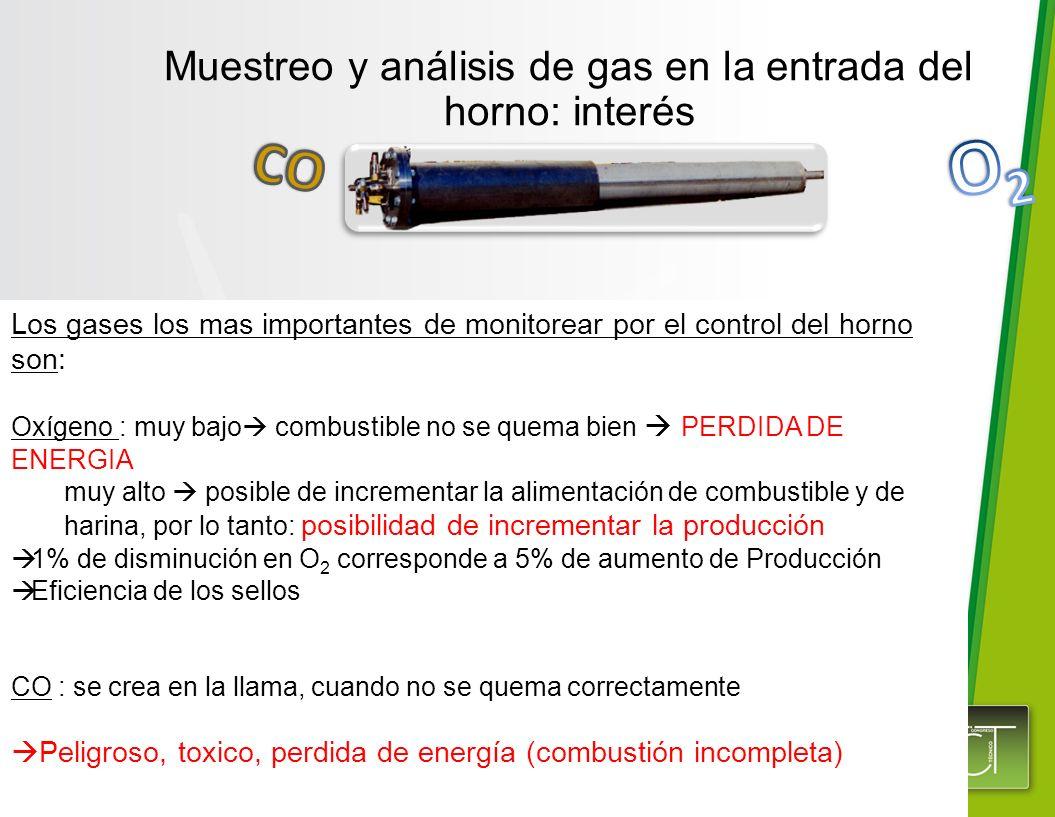 Los gases los mas importantes de monitorear por el control del horno son: Oxígeno : muy bajo combustible no se quema bien PERDIDA DE ENERGIA muy alto