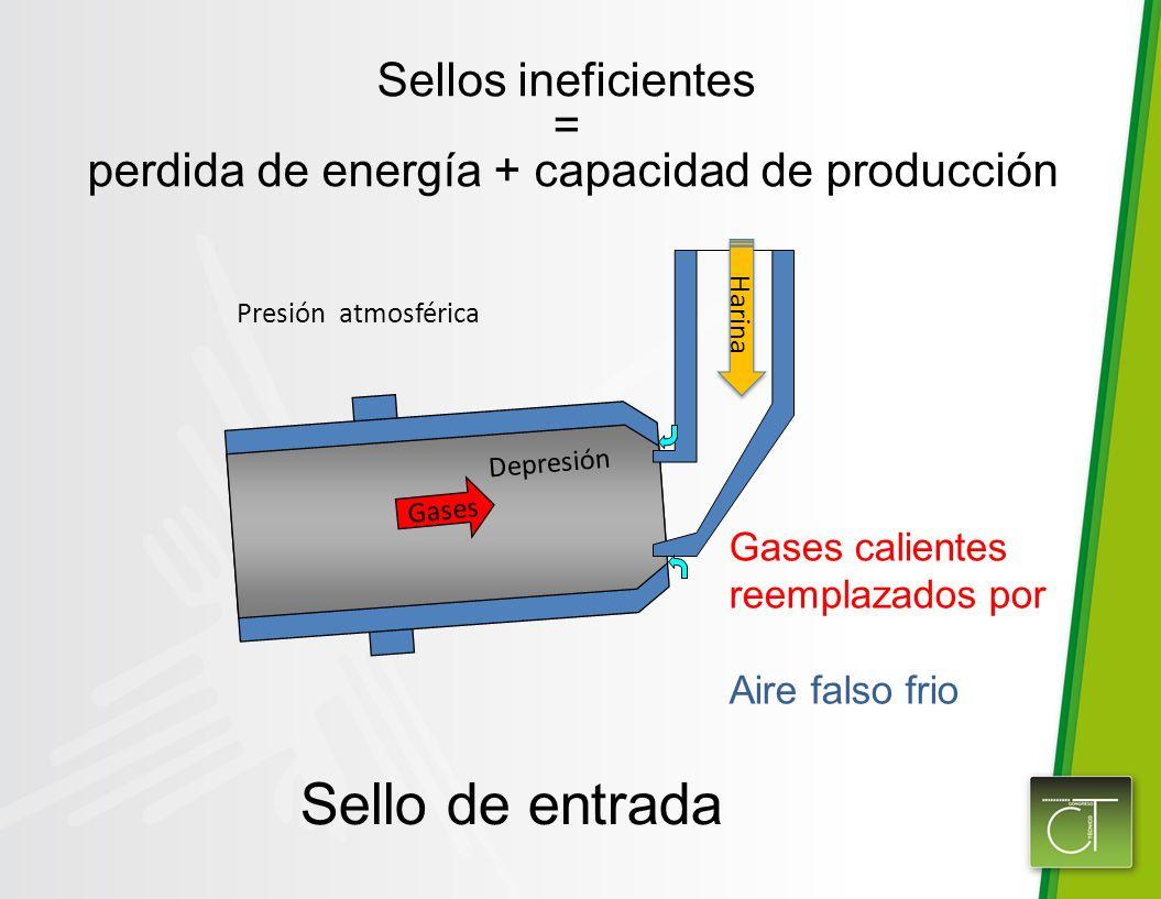 Sello de entrada Gases Sellos ineficientes = perdida de energía + capacidad de producción Gases calientes reemplazados por Aire falso frio Presión atmosférica Depresión Harina