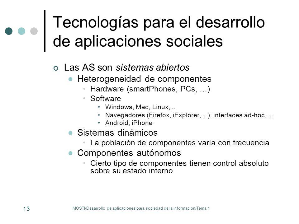 Tecnologías para el desarrollo de aplicaciones sociales Las AS son sistemas abiertos Heterogeneidad de componentes Hardware (smartPhones, PCs, …) Soft