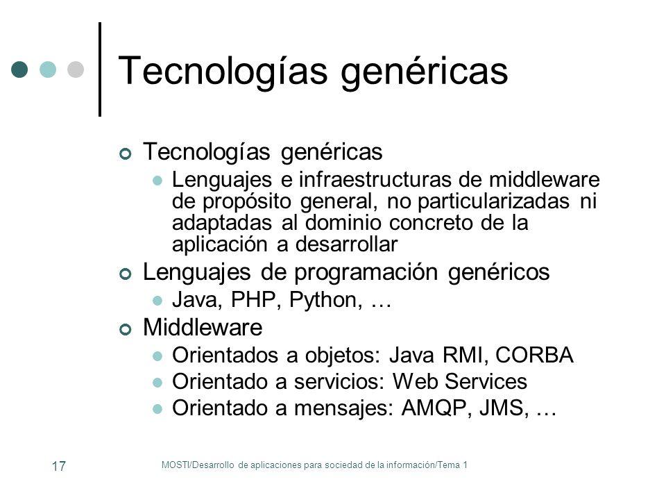 Tecnologías genéricas Lenguajes e infraestructuras de middleware de propósito general, no particularizadas ni adaptadas al dominio concreto de la apli