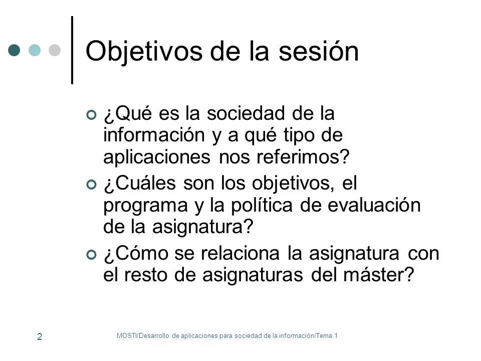 MOSTI/Desarrollo de aplicaciones para sociedad de la información/Tema 1 2 Objetivos de la sesión ¿Qué es la sociedad de la información y a qué tipo de