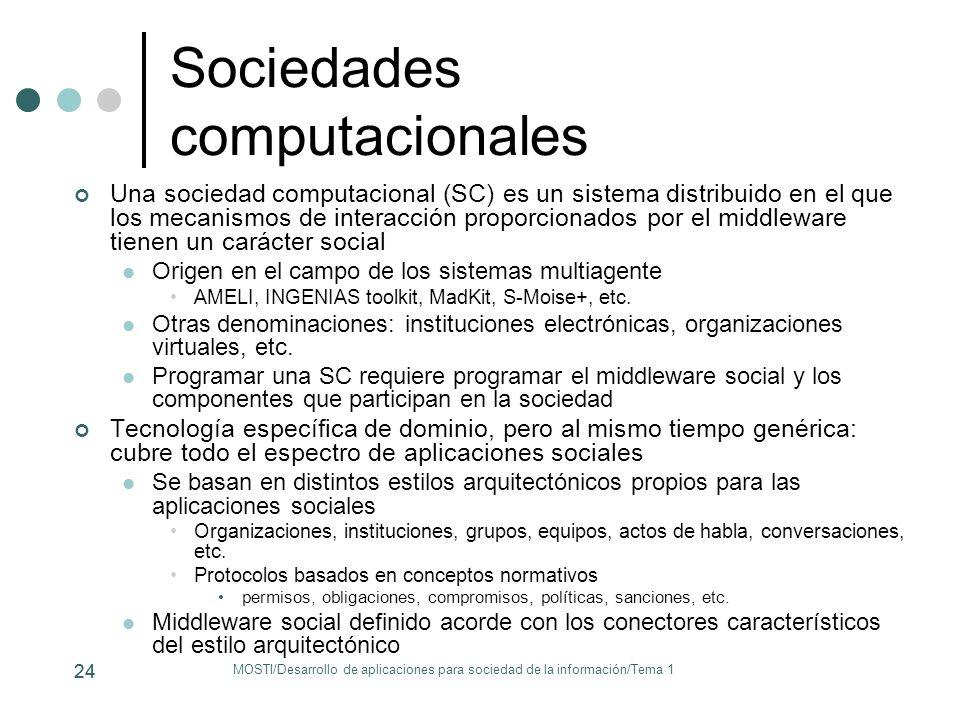 Sociedades computacionales Una sociedad computacional (SC) es un sistema distribuido en el que los mecanismos de interacción proporcionados por el mid