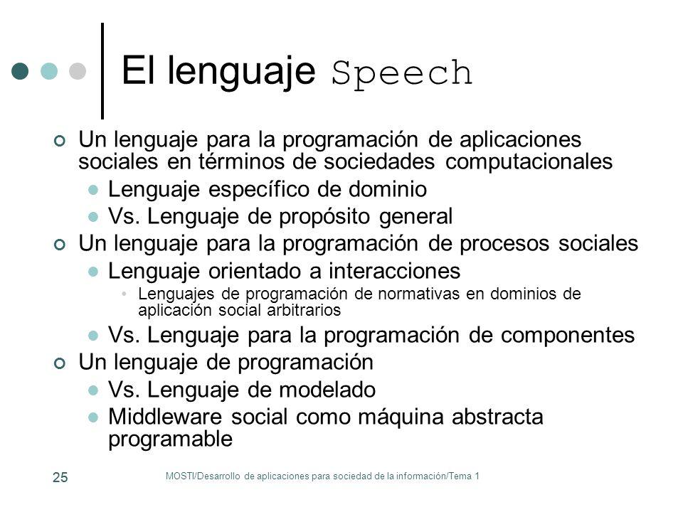 25 El lenguaje Speech Un lenguaje para la programación de aplicaciones sociales en términos de sociedades computacionales Lenguaje específico de domin