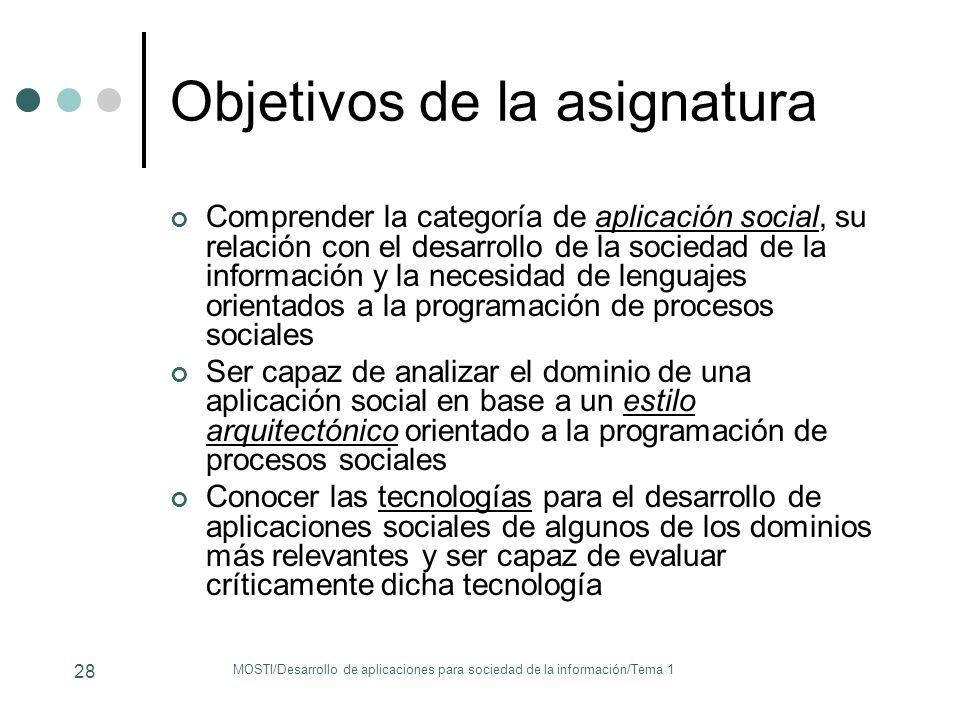 Objetivos de la asignatura Comprender la categoría de aplicación social, su relación con el desarrollo de la sociedad de la información y la necesidad