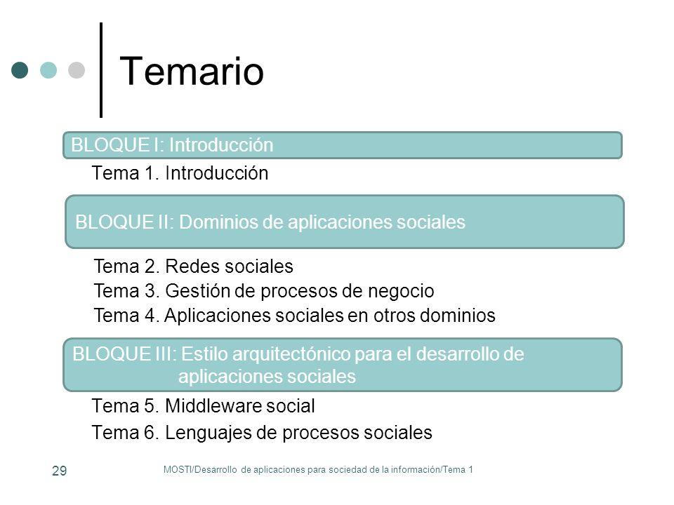 Temario Tema 1. Introducción MOSTI/Desarrollo de aplicaciones para sociedad de la información/Tema 1 29 BLOQUE I: Introducción Tema 5. Middleware soci