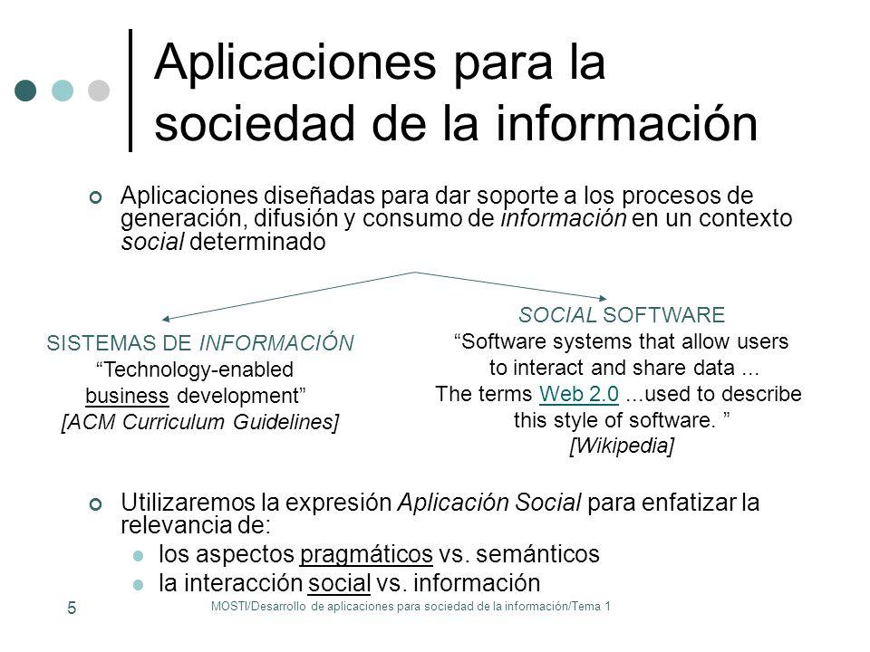 Aplicaciones para la sociedad de la información Aplicaciones diseñadas para dar soporte a los procesos de generación, difusión y consumo de informació