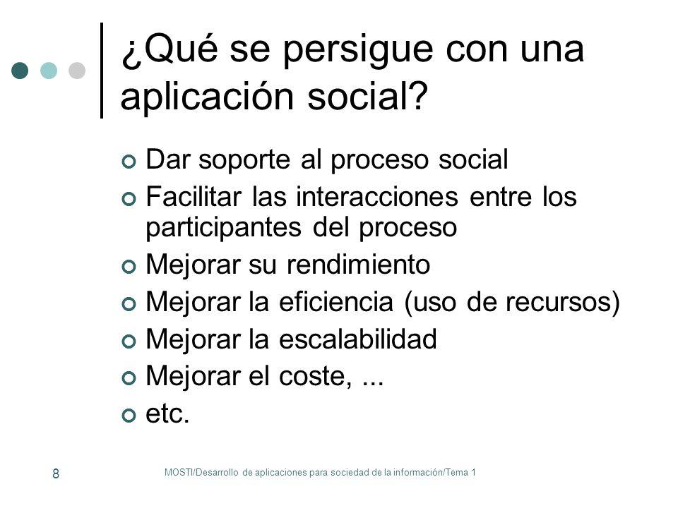 ¿Qué se persigue con una aplicación social? Dar soporte al proceso social Facilitar las interacciones entre los participantes del proceso Mejorar su r