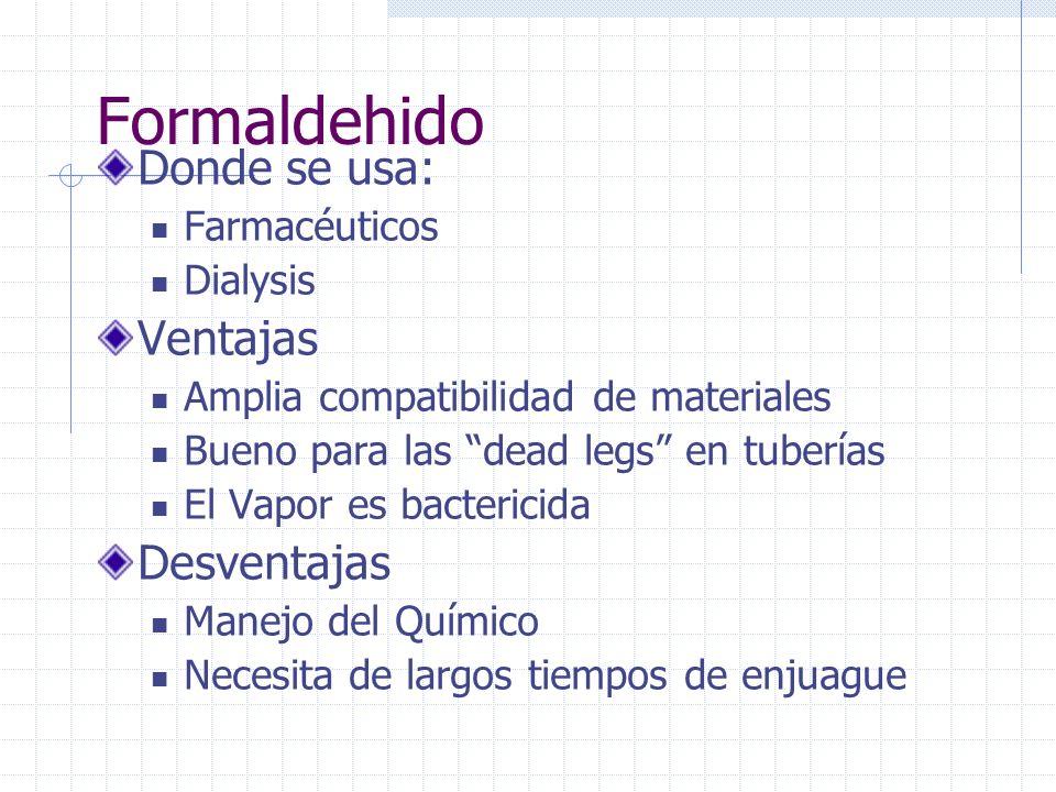 (Peróxido de Hidrogen, H 2 O 2 ; Acido Peracético, CH 3 CO 3 H; percarbonato de Sodio) Compuestos Peroxy En agua se usan: Electronicos Dialysis Ventajas Se descompone en residuo inocuo Es compatible con algunos materiales Desventajas Tiene estabilizadores Orgánicos o metálicos