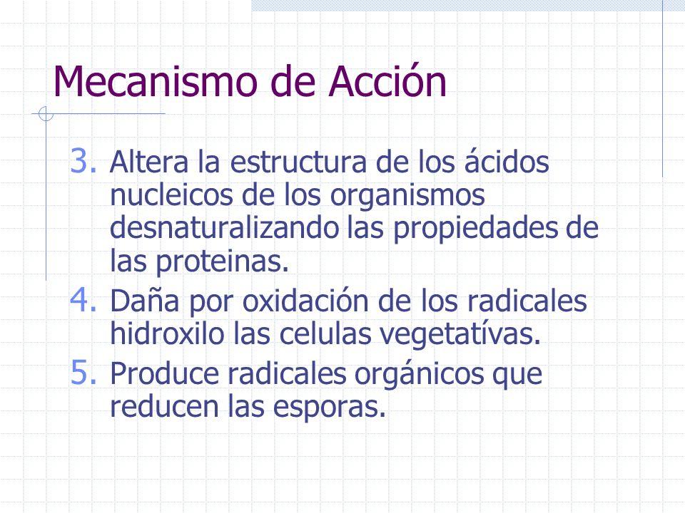Mecanismo de Acción en 5 pasos 1. Desbarata los enlaces Sulfhydrl (-SH) y Sulfur (S-S) en proteinas y enzimas Por lo tanto importantes componentes en