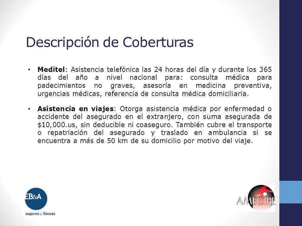 Descripción de Coberturas Meditel: Asistencia telefónica las 24 horas del día y durante los 365 días del año a nivel nacional para: consulta médica pa
