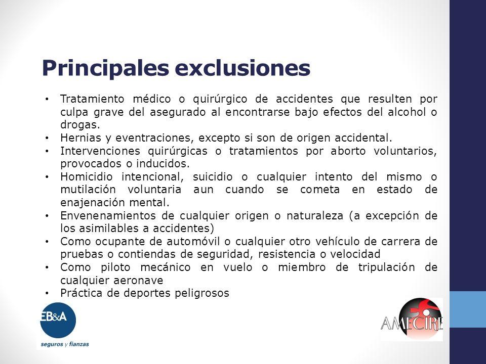 Principales exclusiones Tratamiento médico o quirúrgico de accidentes que resulten por culpa grave del asegurado al encontrarse bajo efectos del alcoh