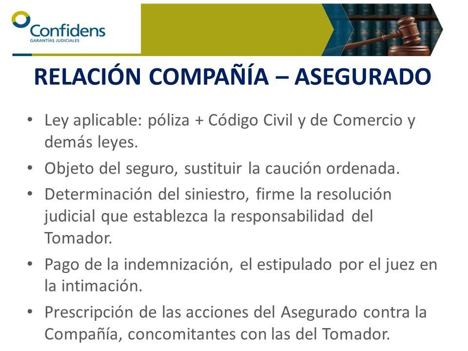 RELACIÓN COMPAÑÍA – ASEGURADO Ley aplicable: póliza + Código Civil y de Comercio y demás leyes. Objeto del seguro, sustituir la caución ordenada. Dete
