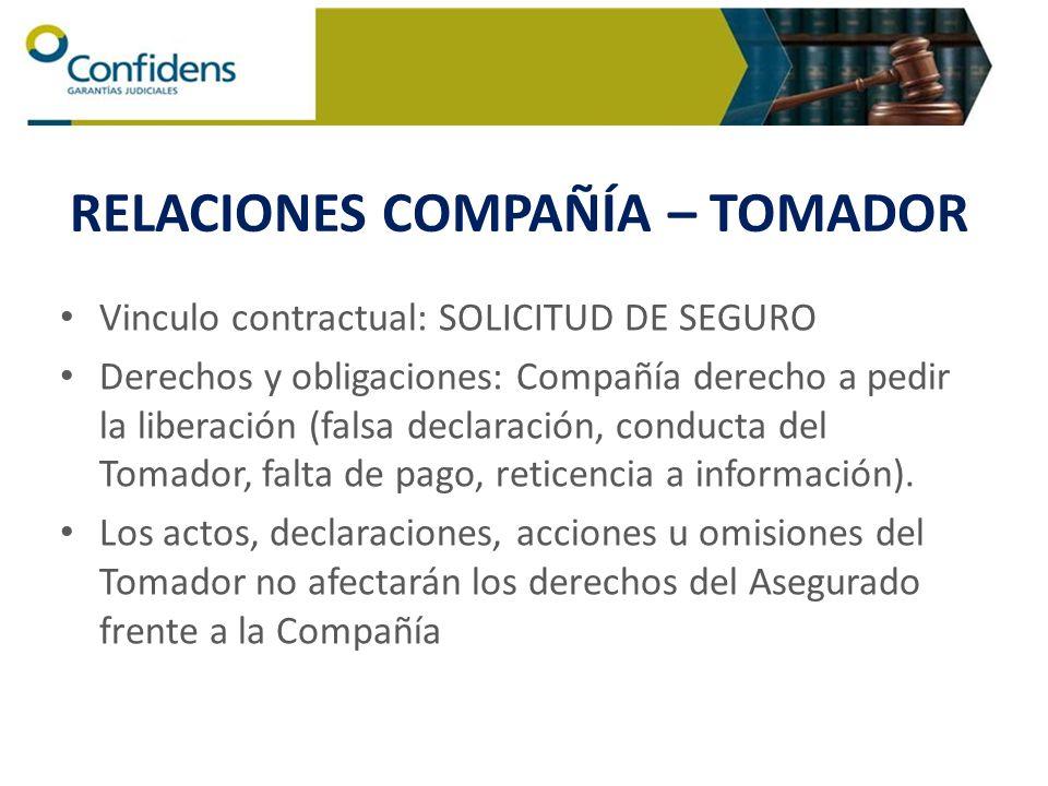 RELACIONES COMPAÑÍA – TOMADOR Vinculo contractual: SOLICITUD DE SEGURO Derechos y obligaciones: Compañía derecho a pedir la liberación (falsa declarac
