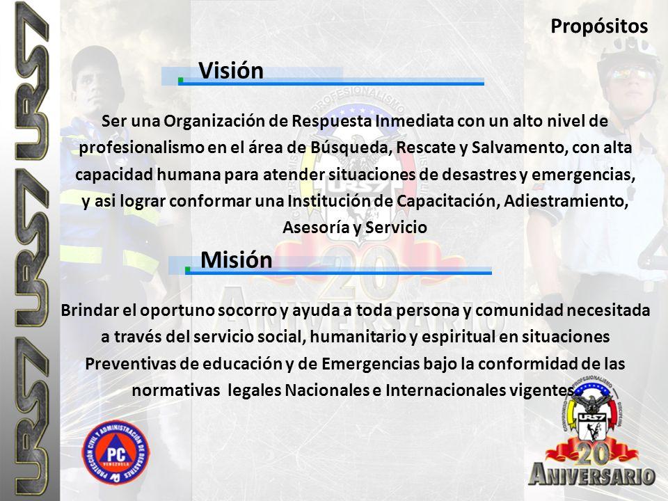 Visión Propósitos Ser una Organización de Respuesta Inmediata con un alto nivel de profesionalismo en el área de Búsqueda, Rescate y Salvamento, con a