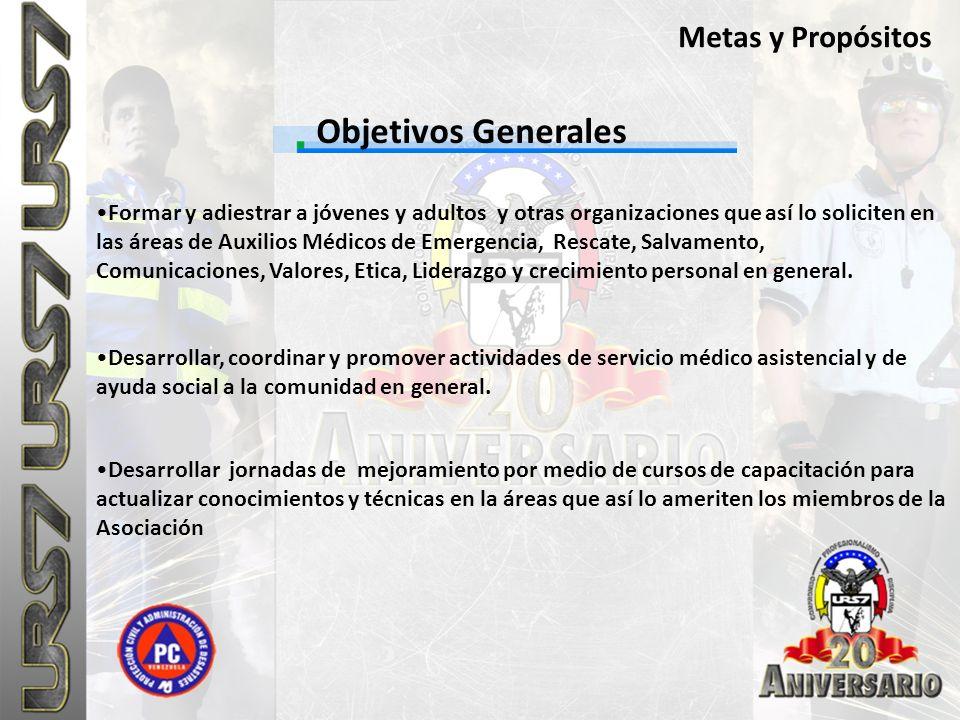 Objetivos Generales Metas y Propósitos Formar y adiestrar a jóvenes y adultos y otras organizaciones que así lo soliciten en las áreas de Auxilios Méd