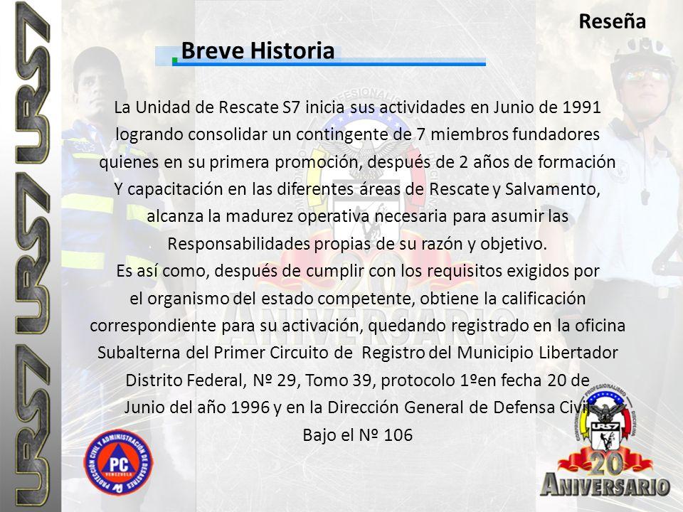 Breve Historia Reseña La Unidad de Rescate S7 inicia sus actividades en Junio de 1991 logrando consolidar un contingente de 7 miembros fundadores quie