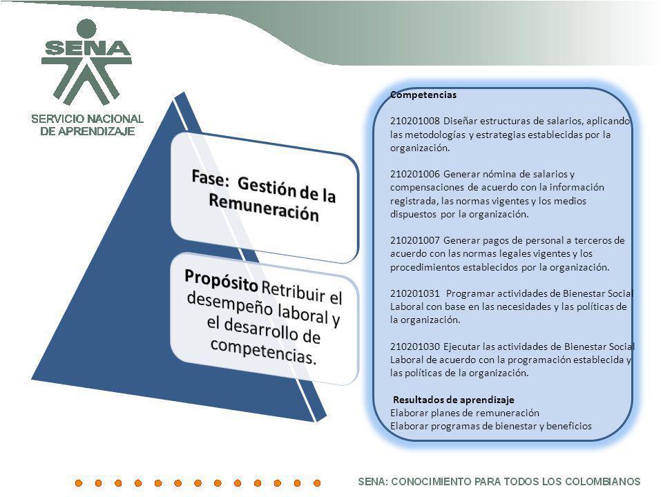 Competencias 210201008 Diseñar estructuras de salarios, aplicando las metodologías y estrategias establecidas por la organización. 210201006 Generar n
