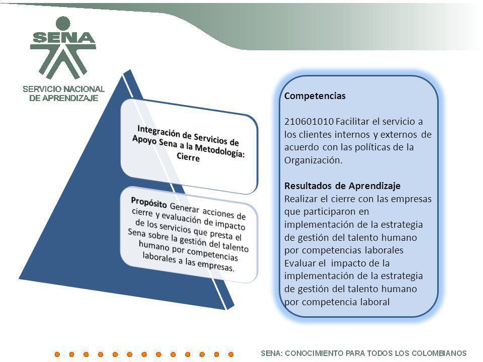 Competencias 210601010 Facilitar el servicio a los clientes internos y externos de acuerdo con las políticas de la Organización. Resultados de Aprendi