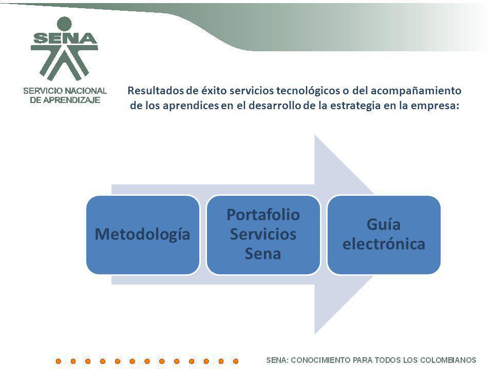 Resultados de éxito servicios tecnológicos o del acompañamiento de los aprendices en el desarrollo de la estrategia en la empresa: Metodología Portafo