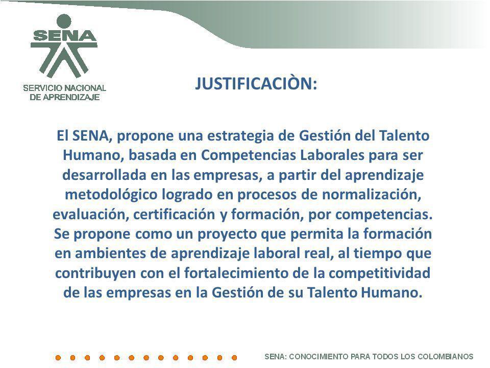JUSTIFICACIÒN: El SENA, propone una estrategia de Gestión del Talento Humano, basada en Competencias Laborales para ser desarrollada en las empresas,
