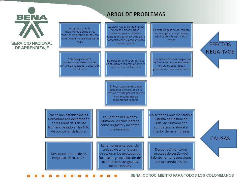 ARBOL DE PROBLEMAS Altos costos en la implementación de otros modelos de gestión del talento humano que no se ajustan a las NCLC Los sistemas de calid