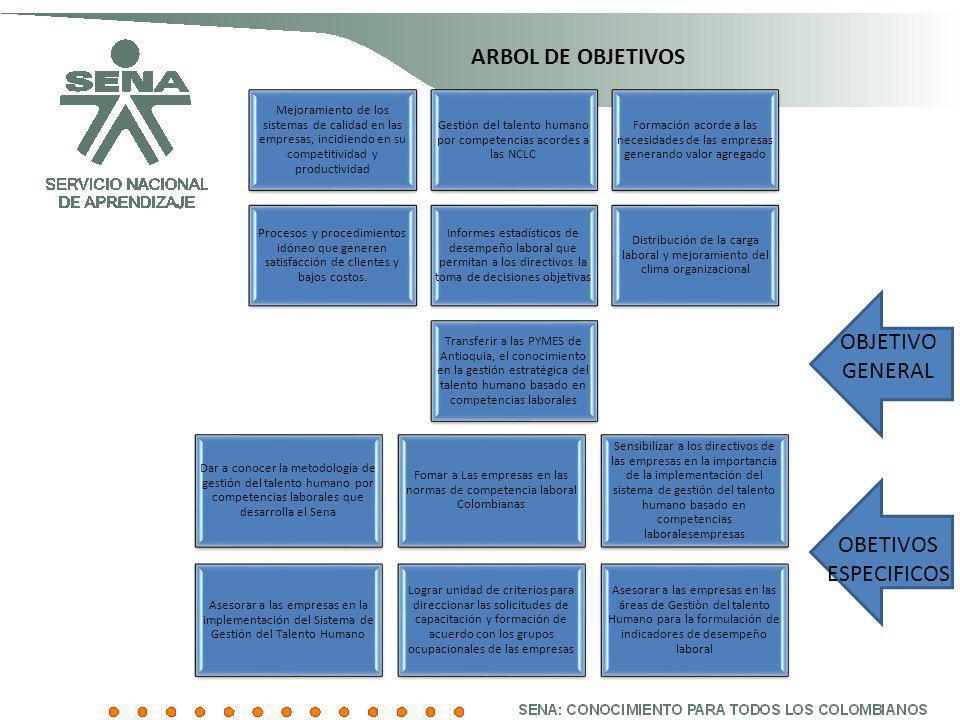 ARBOL DE OBJETIVOS Mejoramiento de los sistemas de calidad en las empresas, incidiendo en su competitividad y productividad Gestión del talento humano