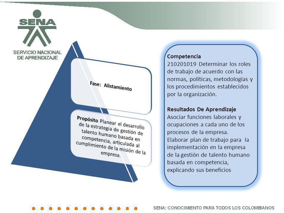 Competencia 210201019 Determinar los roles de trabajo de acuerdo con las normas, políticas, metodologías y los procedimientos establecidos por la orga