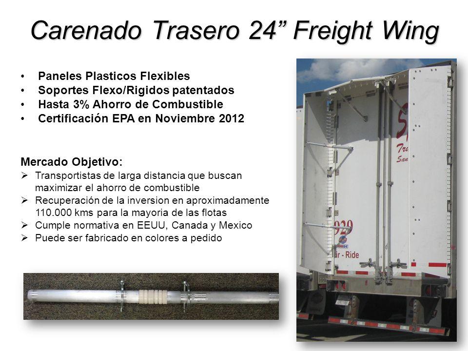 Carenado Trasero 24 Freight Wing Paneles Plasticos Flexibles Soportes Flexo/Rigidos patentados Hasta 3% Ahorro de Combustible Certificación EPA en Nov