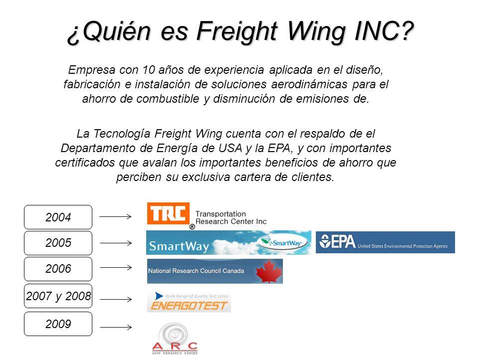 Freight Wing AeroFlex 2012 Ahorro Combustible Flotas observan 5% - 7% de ahorro Peso 66 kgs.total Menor Mantenimiento Piezas sin desgaste Facil y Rapida Instalación