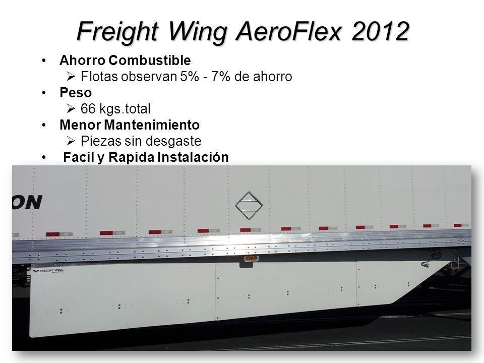 Freight Wing AeroFlex 2012 Ahorro Combustible Flotas observan 5% - 7% de ahorro Peso 66 kgs.total Menor Mantenimiento Piezas sin desgaste Facil y Rapi
