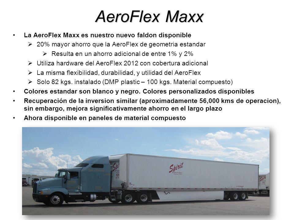 Sistema AeroFlex Solución completa para la aerodinamica de los remolques combinando el AeroFlex Maxx, Carenado frontal y carenado trasero Flotas pueden tener ahorro de combustible por sobre el 10% Sistema pesa menos de 185 kilos Recuperación de la inversion en menos de 70,000 kms – grandes ahorros en el largo plazo