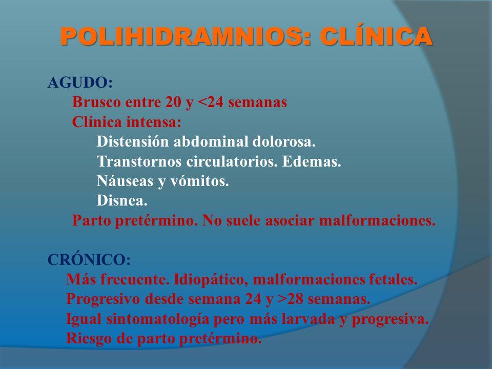 POLIHIDRAMNIOS: CLÍNICA AGUDO: Brusco entre 20 y <24 semanas Clínica intensa: Distensión abdominal dolorosa.