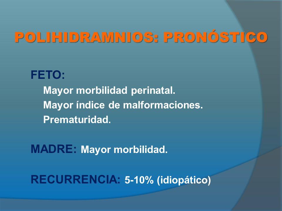 POLIHIDRAMNIOS: PRONÓSTICO FETO: Mayor morbilidad perinatal.