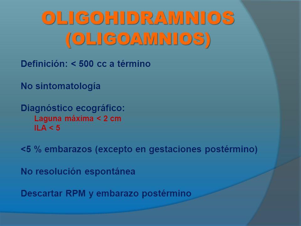 OLIGOHIDRAMNIOS (OLIGOAMNIOS) Definición: < 500 cc a término No sintomatología Diagnóstico ecográfico: Laguna máxima < 2 cm ILA < 5 <5 % embarazos (excepto en gestaciones postérmino) No resolución espontánea Descartar RPM y embarazo postérmino