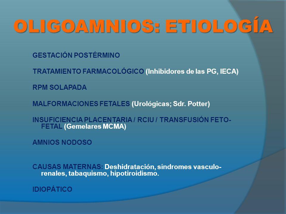 OLIGOAMNIOS: ETIOLOGÍA GESTACIÓN POSTÉRMINO TRATAMIENTO FARMACOLÓGICO (Inhibidores de las PG, IECA) RPM SOLAPADA MALFORMACIONES FETALES (Urológicas; Sdr.