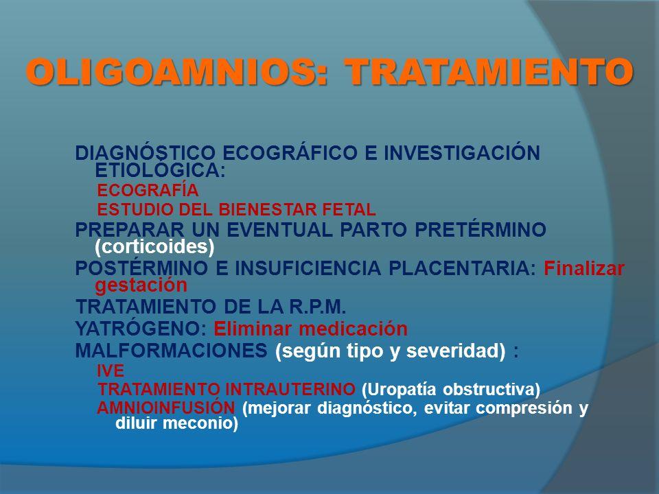 OLIGOAMNIOS: TRATAMIENTO DIAGNÓSTICO ECOGRÁFICO E INVESTIGACIÓN ETIOLÓGICA: ECOGRAFÍA ESTUDIO DEL BIENESTAR FETAL PREPARAR UN EVENTUAL PARTO PRETÉRMINO (corticoides) POSTÉRMINO E INSUFICIENCIA PLACENTARIA: Finalizar gestación TRATAMIENTO DE LA R.P.M.