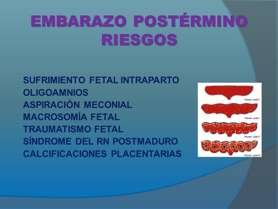 EMBARAZO POSTÉRMINO RIESGOS SUFRIMIENTO FETAL INTRAPARTO OLIGOAMNIOS ASPIRACIÓN MECONIAL MACROSOMÍA FETAL TRAUMATISMO FETAL SÍNDROME DEL RN POSTMADURO CALCIFICACIONES PLACENTARIAS