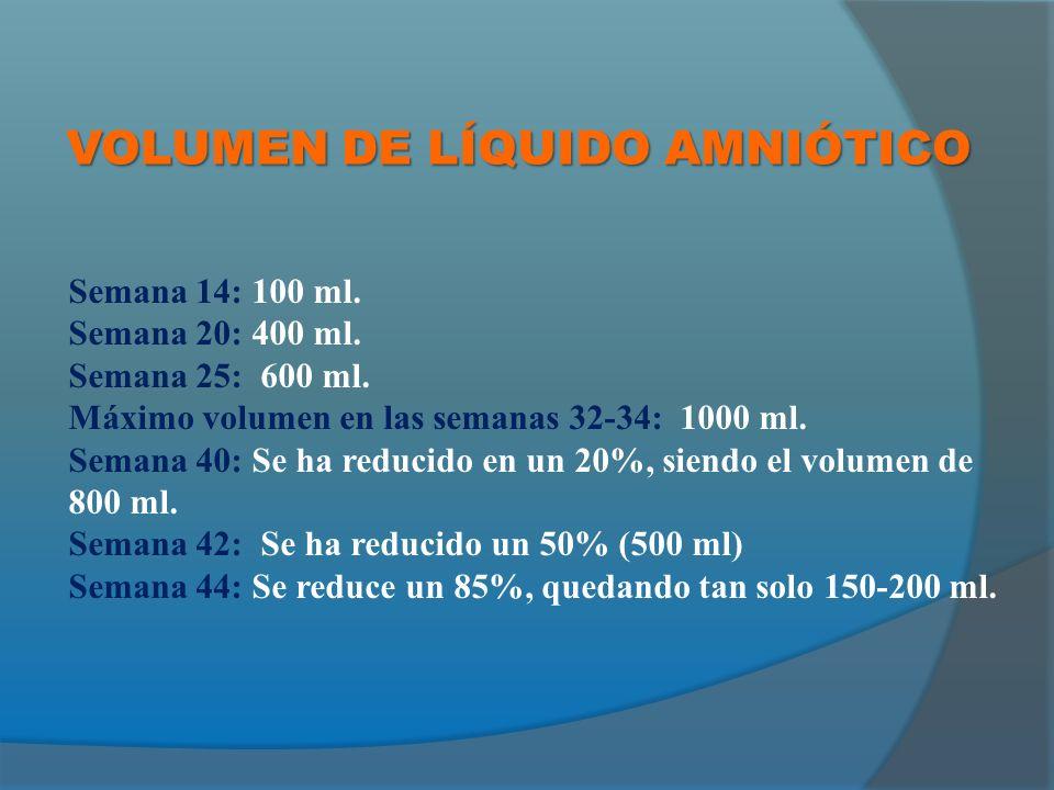 VOLUMEN DE LÍQUIDO AMNIÓTICO Semana 14: 100 ml.Semana 20: 400 ml.