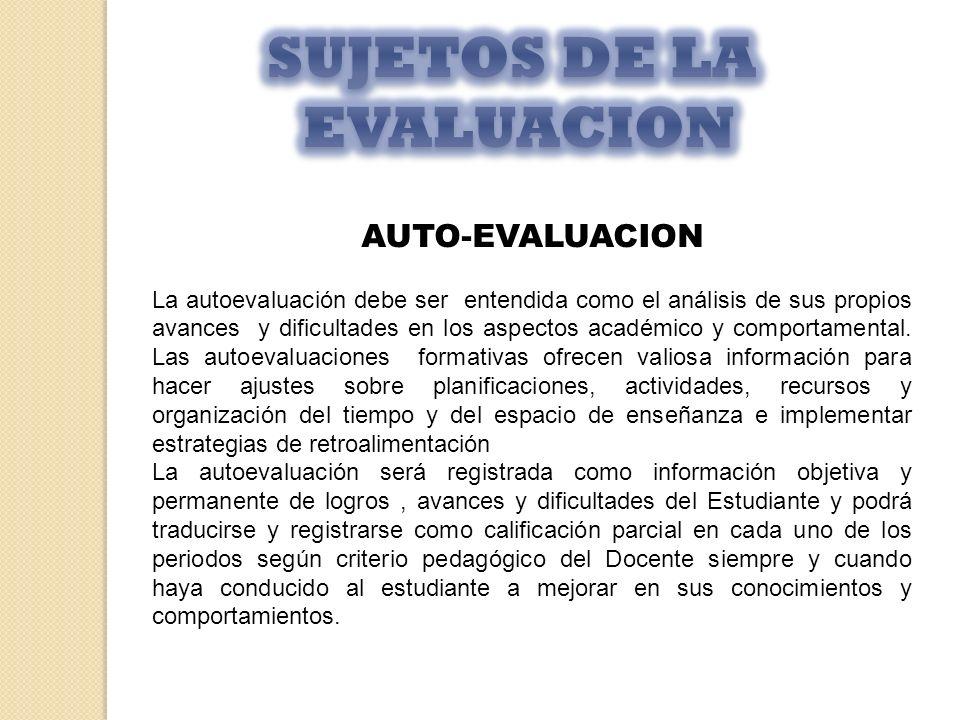 AUTO-EVALUACION La autoevaluación debe ser entendida como el análisis de sus propios avances y dificultades en los aspectos académico y comportamental