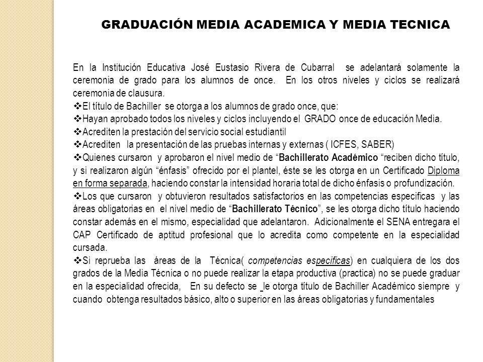 GRADUACIÓN MEDIA ACADEMICA Y MEDIA TECNICA En la Institución Educativa José Eustasio Rivera de Cubarral se adelantará solamente la ceremonia de grado