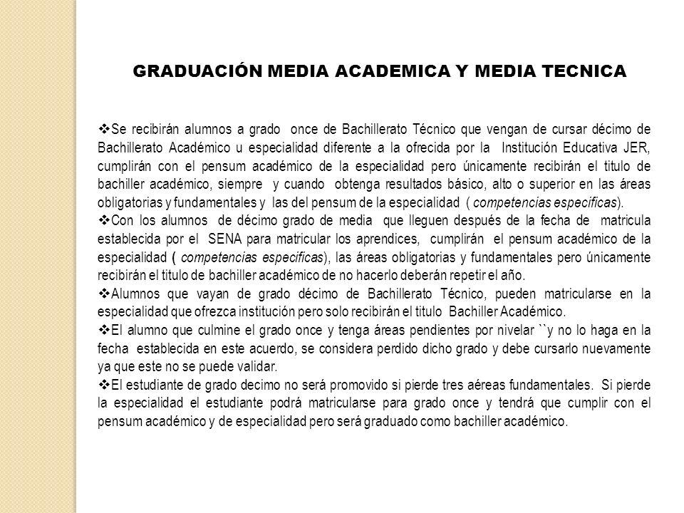 GRADUACIÓN MEDIA ACADEMICA Y MEDIA TECNICA Se recibirán alumnos a grado once de Bachillerato Técnico que vengan de cursar décimo de Bachillerato Acadé
