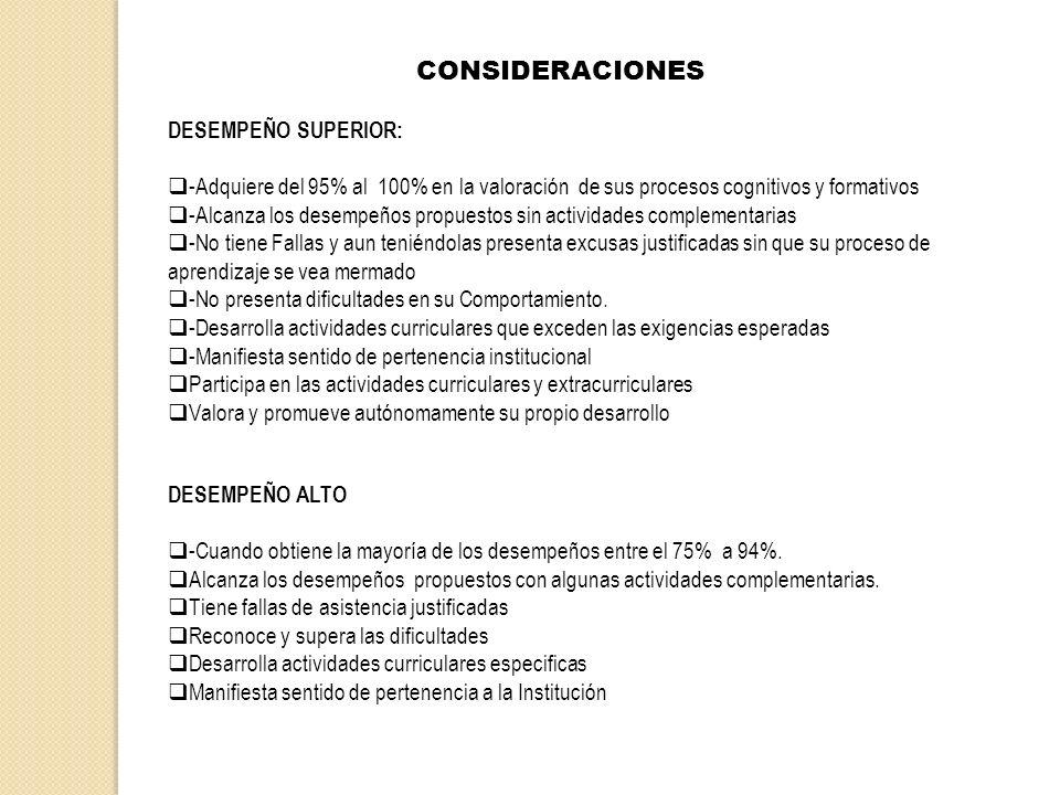 CONSIDERACIONES DESEMPEÑO SUPERIOR: -Adquiere del 95% al 100% en la valoración de sus procesos cognitivos y formativos -Alcanza los desempeños propues