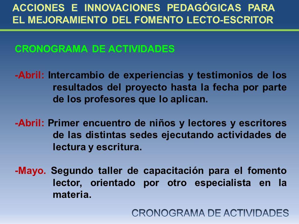 CRONOGRAMA DE ACTIVIDADES -Abril: Intercambio de experiencias y testimonios de los resultados del proyecto hasta la fecha por parte de los profesores