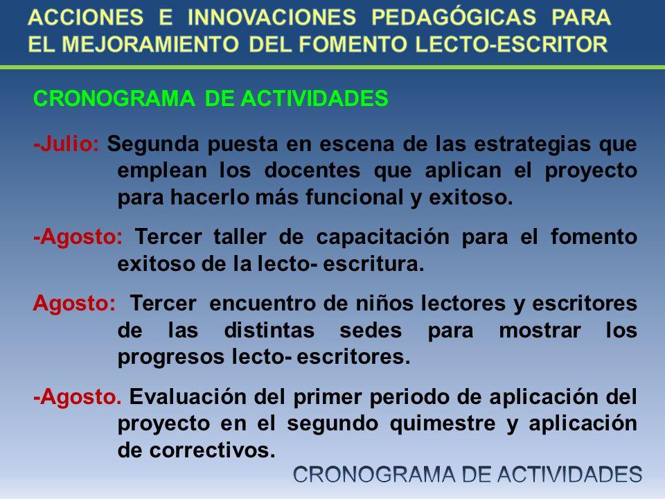 CRONOGRAMA DE ACTIVIDADES -Julio: Segunda puesta en escena de las estrategias que emplean los docentes que aplican el proyecto para hacerlo más funcio
