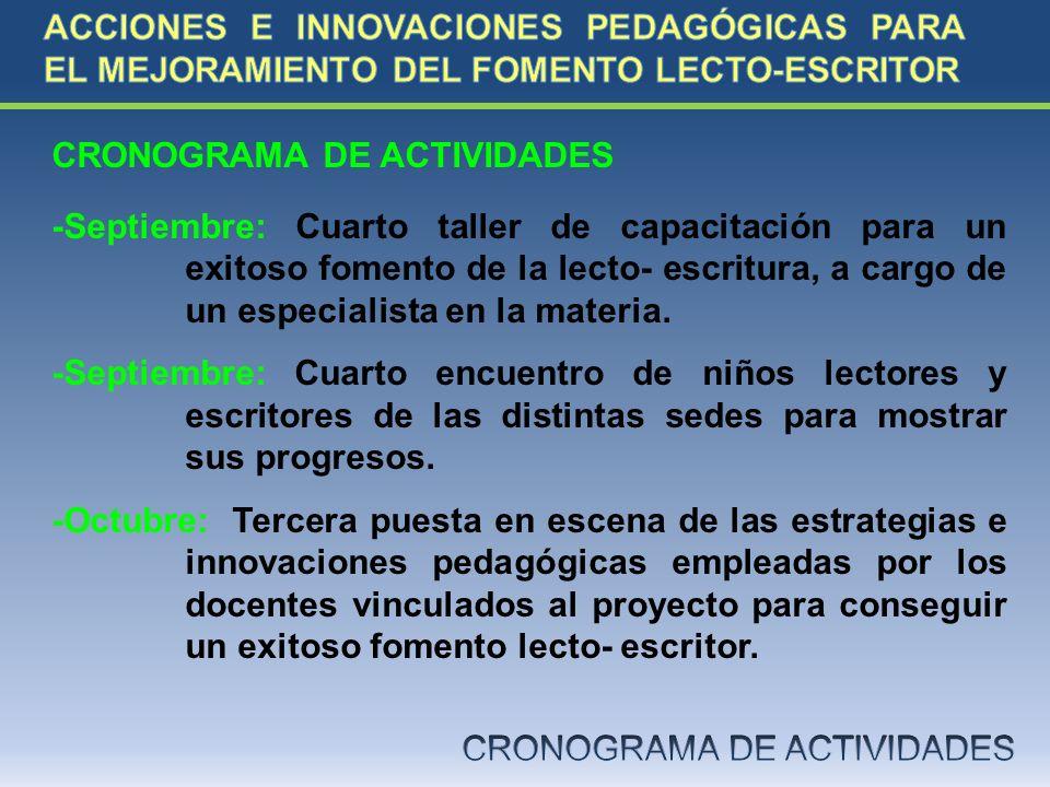 CRONOGRAMA DE ACTIVIDADES -Septiembre: Cuarto taller de capacitación para un exitoso fomento de la lecto- escritura, a cargo de un especialista en la