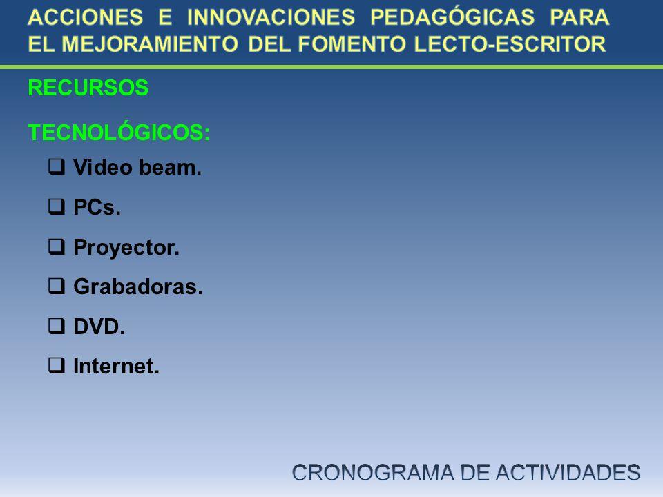 RECURSOS TECNOLÓGICOS: Video beam. PCs. Proyector. Grabadoras. DVD. Internet.